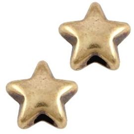 5 x DQ metaal kraal ster Antiek brons 6x3.6mm (Ø1.5mm)
