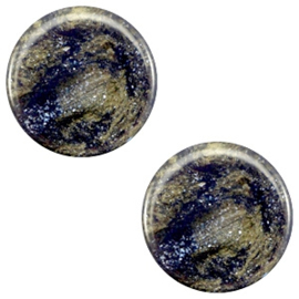 1 x 7 mm platte cabochon Polaris Elements Stardust Midnight blue