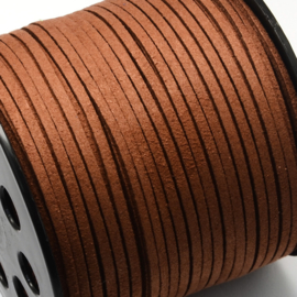 2 meter Faux suède veter breed 3mm kleur: Saddle Brown