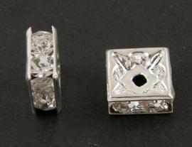 25 stuks verzilverde kristal spacers vierkant 8 x 8 x 4mm blank gat 1mm