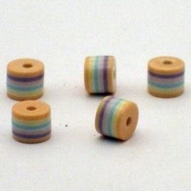 25 stuks  Acryl cilinder regenboog kraal 6 x 8 mm