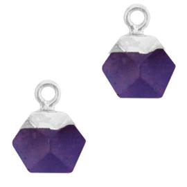 1 x Natuursteen hangers hexagon Purple-silver Berg Kristal