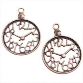 2x Tibetaans zilveren bedel hanger van een klok kleur: oud rose gold