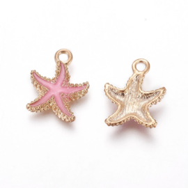 2 x Metalen bedels zeester light gold hot pink ca. 18 x14,5 x 3mm oogje 1,4mm