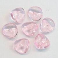 10 Stuks Glaskraal gebogen schijf transparant L.Roze 10 mm