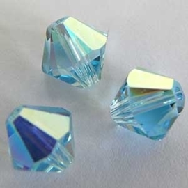 10 x Preciosa Kristal Bicone 8mm Blue AB