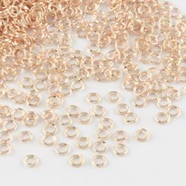 100  x  rose gold ringetjes 6mm 0,7mm dik