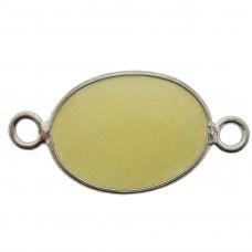 Prachtige facet geslepen tussenstuk edelsteen  ca. 16 x 32mm jade facet geel zilver