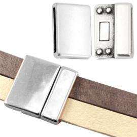 DQ metaal magneetslot large  Ø plat 2 x 10mm Antiek zilver (nikkelvrij)  ca. 25 x 25 mm (Ø 21x2.5mm)