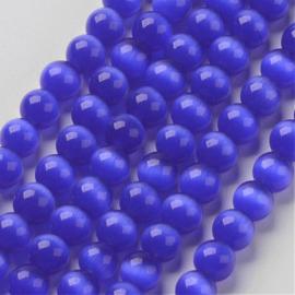 10 stuks prachtige cateye kraal 10mm medium blue