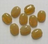 10 Stuks Glaskraal plat ovaal glanzend beige 12 mm