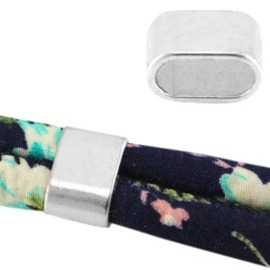 2x Basic quality gesloten tussenzetsel connector metalen ring ovaal Ø10.5x5mm Antiek zilver