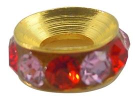Schitterende Gold Plated  European Jewelry  kraal met bergkristal erg mooi!! 10,3 x 4,4mm gat 4,5mm