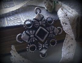 Per stuk tibetaans antiek zilveren hanger/tussenzetsel 29 mm zonder steen