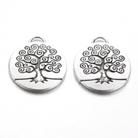 2 x Tibetaans zilveren boom tree of life  hanger 27 x 23,5mm x 2,5mm gat: 4x2 mm