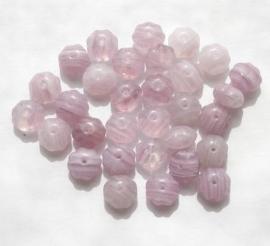 30 x Plat ronde kraal van 8 x 5 mm. Gat: 1mm In verschillende tinten lila.