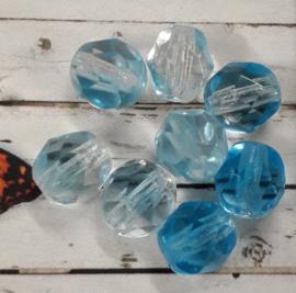 5 x gemixte blauw met witte facet glaskralen 6 x 5 mm gat : 1 mm