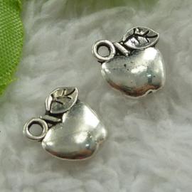 5 x tibetaans zilveren bedeltje van een appel 10,5 x 11 x 2,5mm