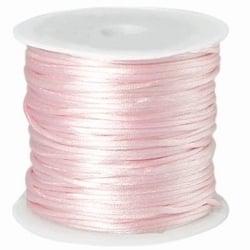 1 meter satijnkoord  van ca. 1 mm dik, licht roze