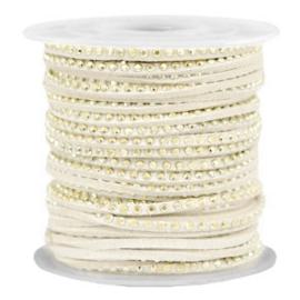 1 meter Imitatie leer 3mm met goud aluminium studs Gold-silk beige