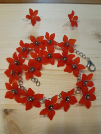 Red Flower- armband en oorbellen ♥