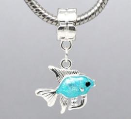 Prachtige Tibetaans zilveren European Jewelry bedel vis met emaille 31mm x 19mm kleur wijkt iets af, in het echt groene glans