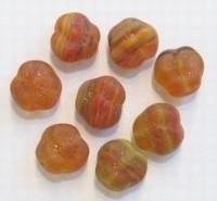 15 stuks Glaskraal bloem mat middelbruin gemeleerd 10 mm