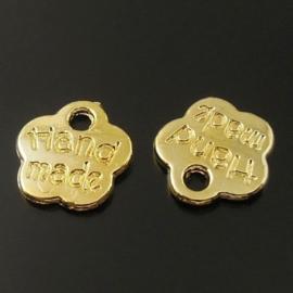 10 stuks tibetaans zilveren kleine bedeltjes hand made goud kleur 8 x 8 x1 mm Gat: 1,5mm