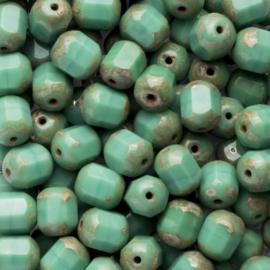 15  x Tsjechië  kraal kristal facet 8mm kleur: aqua groen gat: 1mm