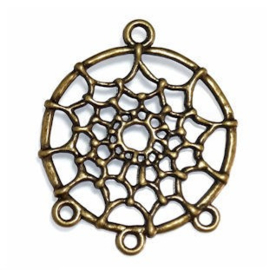DQ metalen bedels dreamcatcher geel koper  34 x 28 x 2mm