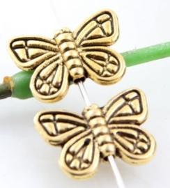 10 x prachtige antiek goudkleurige Tibetaans zilveren kraal van een vlinder 11 x 15,5 x 3mm gat 1,5mm
