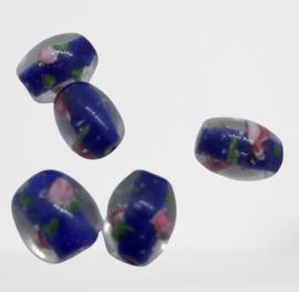 5x Indiaase doorzichtige glaskralen met een Blauwe binnenkant 15x12mm gat: 1,8mm