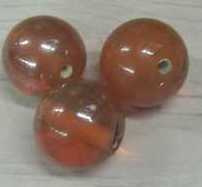 5 Stuks ronde glaskraal oranje 13mm gat 2mm