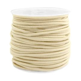 1 meter gekleurd elastisch draad van rubber voorzien van een laagje stof  2,5mm Beige gold