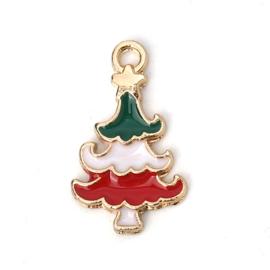 2 x vergulde kerst bedel van een kerstboom afm. 20 x12mm oogje 2,1 mm