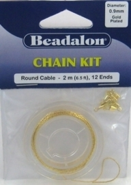 Per stuk Beadalon chain kit gold 0,9mm