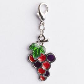 Be Charmed bedel druiven met karabijnsluiting zilver met een rhodium laag (nikkelvrij)