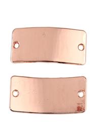 2 x metalen naamlabel tussenzetsels rechthoek 30x15mm rose gold