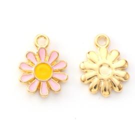 2 x vrolijke metalen bedels bloem roze geel 14 x 12mm