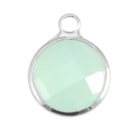 Crystal glas hanger rond 12mm Crysolite green opal-Silver