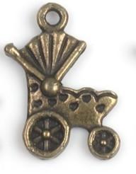 4 x Tibetaans zilveren bedel van een kinderwagen 19 x 14mm geel koper