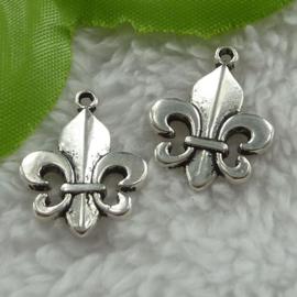 4 x Tibetaans zilveren Franse Lelie 22x17mm
