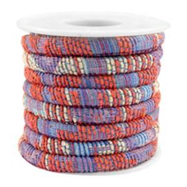 20 cm Trendy gestikt koord 6x4mm Multicolor coral red-blue