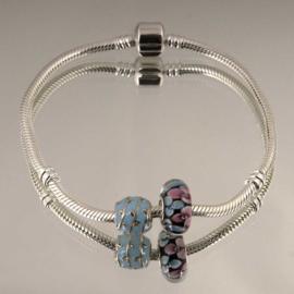 Kralen Set  blauw 925 sterling zilver (Zonder armband)