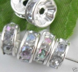 50 stuks Verzilverde Kristal Rondellen 8mm blank AB
