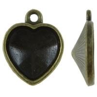 Houder V: Prachtige Camée of Cabochon houder hart vorm binnenzijde: 14 x 15mm geel koper kleur