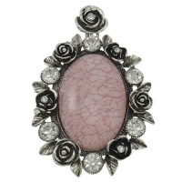 Prachtige Tibetaans zilveren hanger voor bijvoorbeeld een sjaal of ketting 50 x 74 x 10mm, Gat: c.a. 4 x 6mm roze
