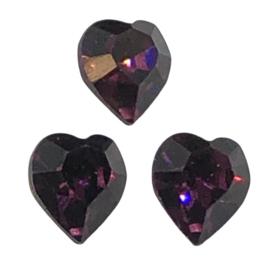 2x Precosia kristal in de vorm van een hart Donker Paars 6,5 mm