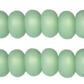 5 x Polaris kralen matt disc 8mm Crysolite green