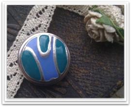 Per stuk Mooie Metalen zilveren drukker met blauw/groene epoxy 18 mm